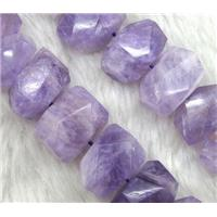 purple Chalcedony nugget beads, faceted freeform, approx 15-20mm, 15.5 inches