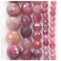 natural Ruby beads, faceted round, approx 4mm dia