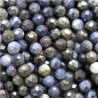 natural Sapphire beads, faceted round, darkblue, B-grade, approx 4mm dia