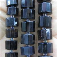 black Obsidian beads, faceted heishi, approx 7-11mm dia