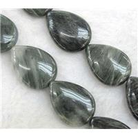 natural green Seraphinite beads, flat teardrop, approx 18x25mm, 15.5 inches