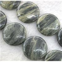 natural Seraphinite beads, flat round, approx 30mm dia, 15.5 inches
