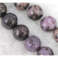 natural purple lepidolite beads, round, approx 6mm dia, 15.5 inches
