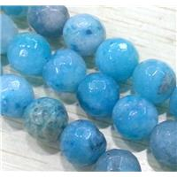 hemimorphite beads. faceted round, blue, approx 8mm dia, 15.5 inches