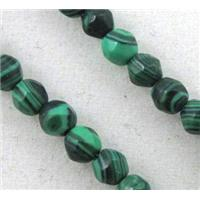 malachite beads, tiny, green, faceted round, approx 3mm dia, 15 inches