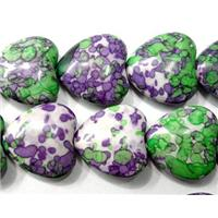 Rain colored stone bead, stability, heart, 14mm wide, approx 29pcs per st