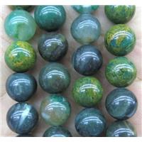 African Flower Verdite beads, green, round, approx 10mm dia