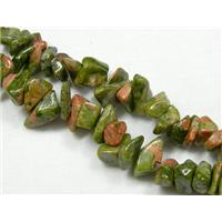 Unakite Chip Beads, freeform, 3-7mm, 32 inch long per st.