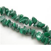 Malachite Chip Beads, green, 3-6mm, 32 inch long per st.