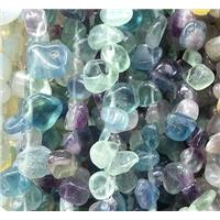 rainbow fluorite gemstone chips bead, teardrop, freeform, approx 8-15mm, 16 inch(40cm) long