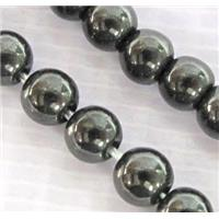 round black Hematite beads, Magnetic, approx 4mm dia