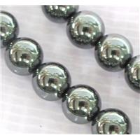 round black Hematite beads, no-Magnetic, approx 4mm dia