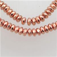 rose golden Hematite beads, faceted rondelle, approx 3x6mm