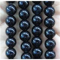 round jade stone beads, dye, black, approx 4mm dia