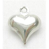 Heart Pendant, copper, platinum plated, 9x11.5mm