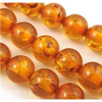 amber bead, round, golden, 8mm dia, approx 54pcs per st