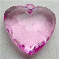 Acrylic Pendant, heart, faceted, transparent, hot-pink, 30mm wide, 144 beads approx