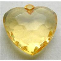 Acrylic Pendant, heart, faceted, transparent, yellow, 30mm wide, 144 beads approx