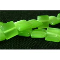 Cats eye beads, square, green, 8x8mm, 50 beads per st.